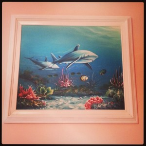 New relaxing strawberry mouse wall color with a beautiful shark painting that hangs above my bed.